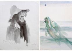 """Paar Drucke - Josef Oberberger (1905 Regensburg - 1994 Kreuth) """"Fisch und Bildnis Francois"""