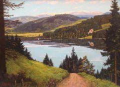 """Gemälde - Karl Degen (19./20.Jahrhundert) """"Titisee im südlichen Schwarzwald in Baden-Württemberg"""","""