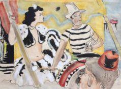 """Aquarell - Eduard Aigner (1903 Neuhaus - 1978 München) """"Artisten"""", r.u. monogrammiert, datiert (19)"""