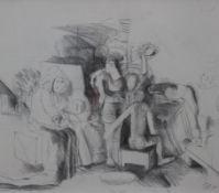 """Zeichnung - Toni Waim (1923 Wasserburg / Inn - 2001 Landshut) """"Ohne Titel"""", r.u."""