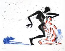 """Farblithographie - Helge Leiberg (1954 Dresden) """"Ohne Titel"""", r.u. Bleistiftsignatur, datiert (19)"""
