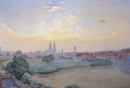 "Aquarell - Prof. Manfred Lindemann-Frommel (1852 München - 1939 Regensburg) ""Stadtansicht Regensburg"