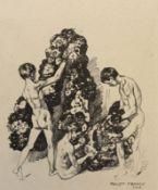 "Lithographie - Philipp FRANCK (1860 Frankfurt a.M. -1944 Berlin) ""Huldigung"", Plattensignatur,"