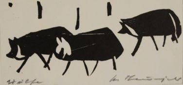 """Holzschnitt - Heinz Theuerjahr (1913 Stolp - 1991 Waldhäuser) """"Wölfe"""", r.u. Bleistiftsignatur,"""