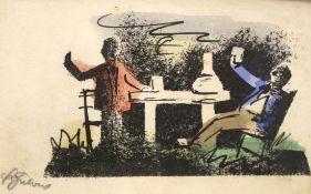"""Lithographie - Franz von Zülow (1883 Wien - 1963) """"Ohne Titel"""", l.u. Bleistiftsignatur, koloriert,"""