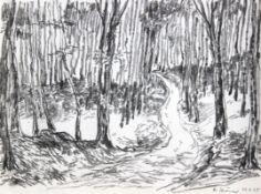 """Zeichnung- Hubert Elsässer (1934 Würzburg - 2009 München) """"Wald"""", r.u. signiert, datiert (19)95,"""