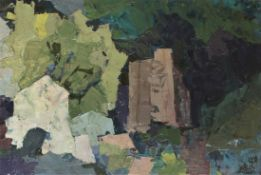 """Gemälde - Oskar Matulla (1900 - 1982 Wien) """" Moderne Landschaft """", r.u. monogrammiert, rückseitig"""