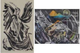 """Paar Lithographien - Oskar Matulla (1900 - 1982 Wien) """"Landschaft und Engel"""", teilweise koloriert,"""