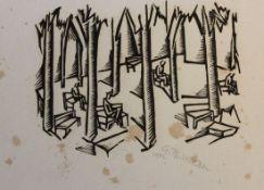"Holzschnitt - Georg Philipp Wörlen (1886 Dillingen - 1954 Passau) ""Im Park"", r.u. Bleistiftsignatur,"