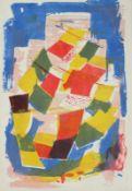 """Farblithographie - Oskar Matulla (1900 - 1982 Wien) """"Moderne Stadtansicht"""", r.u."""