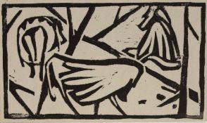 """Holzschnitt - Heinz Theuerjahr (1913 Stolp - 1991 Waldhäuser) """"Paviane"""", Maße Darstellung ca. 9x16"""