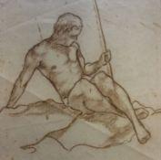 """Zeichnung - Rudolf Brunngraber (1901 Wien 1960) """"Männerakt"""", r.u. signiert und datiert 1928,"""