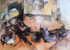 "Aquarell - Willi Ulfig (1910 Breslau - 1983 Regensburg) ""Landschaft"", lasierende Farben auf"