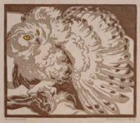 """Handdruck - Norbertine VON BRESSLERN-ROTH (1891 Graz 1978) """"Eule stellt Hasen"""", r.u."""