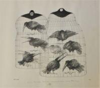 """Lithographie - Paul Flora (1922 Glurns - 2009 Innsbruck) """"Rabeneltern"""", anbei Bleistiftwidmung mit"""