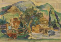 "Aquarell - Oskar Matulla (1900 - 1982 Wien) ""Bucht mit Gebirge"", 1971, Aquarell auf Papier, Maße ca."