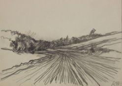 """Zeichnung - Franz Kaindl (1932 Brand - Laaben) """"Landschaft"""", r.u. monogrammiert und datiert 77,"""