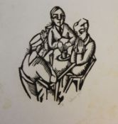 """Holzschnitt - Georg Philipp Wörlen (1886 Dillingen - 1954 Passau) """"Im Cafe"""", r.u. Bleistiftmonogramm"""