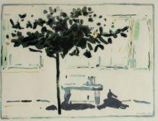 """Farblithographie - Oskar Koller (1925 Erlangen - 2004 Fürth) """"Straßenzug mit Baum und Parkbank"""", r."""