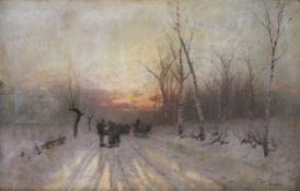 """Gemälde - Carl Leopold (1860 Halle - 1946 München) """"Winterlandschaft im Abendrot, im Vordergrund Weg"""