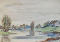 """Aquarell - Oskar Matulla (1900 - 1982 Wien) """"Landschaft"""", r.u. monogrammiert, lasierende Farben"""
