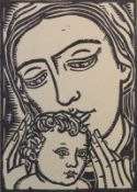 """Lithographie - Georg Philipp Wörlen (1886 Dillingen - 1954 Passau) """"Mutter mit Kind"""", r.u."""