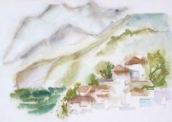"Aquarell- Oskar Matulla (1900 - 1982 Wien) ""Kastri Delphi"", rückseitig beschriftet, lasierende"