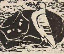 """Linolschnitt - Hermann Erbe-Vogel (1907 Hof an der Saale - 1976 Freyung) """"Katze und Taube"""", r.u."""