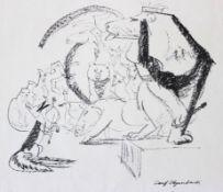 "Lithographie - Josef Hegenbarth (1884 Böhmisch Kamnitz -1962 Dresden) ""Tierversammlung"","
