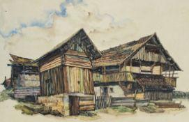 "Aquarell - Oskar Matulla (1900 - 1982 Wien) ""Bauernhof"", lasierende Farben auf Papier, Maße"