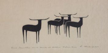 """Holzschnitt - Heinz Theuerjahr (1913 Stolp - 1991 Waldhäuser) """"Gruppe von vier Büffeln"""", r.u."""