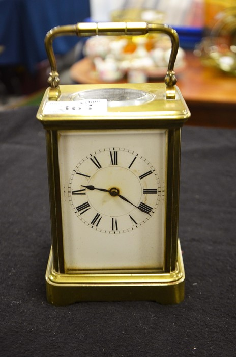 Lot 361 - A French brass cased carriage clock