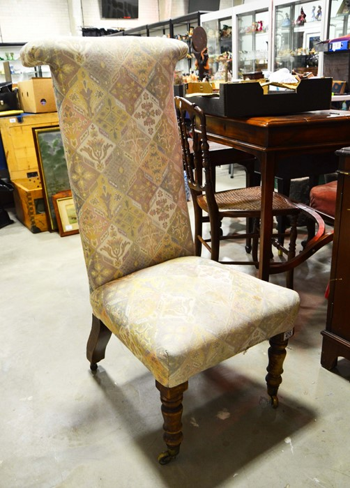 Lot 470 - A prie dieu chair, on turned front supports,