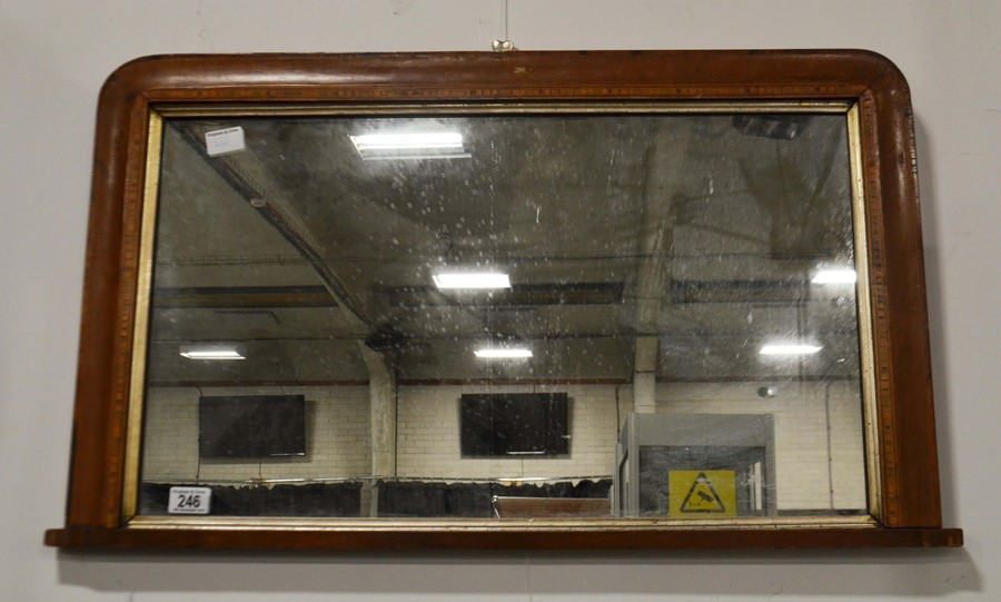Lot 246 - A wall mirror with inlay and wood surround 52cm x
