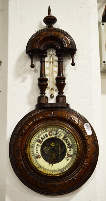 Lot 458 - Oak cased aneroid barometer and another