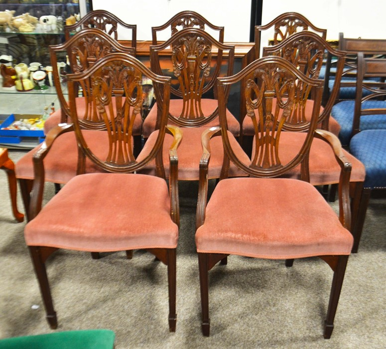 Lot 477a - A set of eight chairs including 2 carvers, pierced splats with Prince of Wales motif, 97cm high
