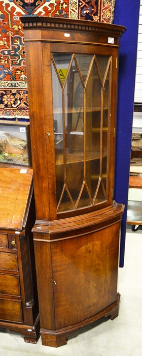 Lot 506 - Reproduction corner cabinet, fitted glazed door above cupboard door