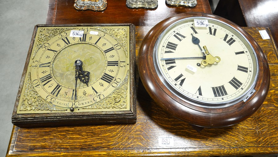 Lot 536 - A mahogany cased school clock with white enamelled dial, 34cm overall diameter, and a brass clock