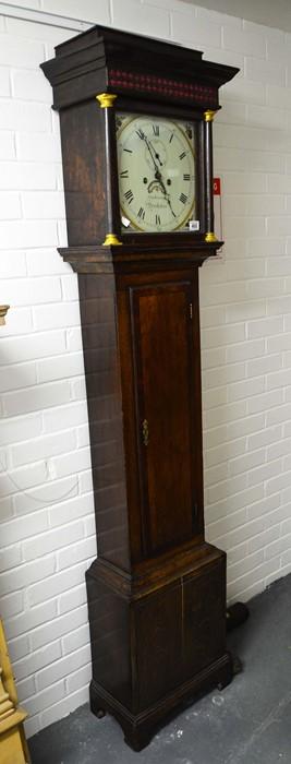 Lot 468 - An oak cased longcase clock, enamelled dial signed Stephenson, of Dorchester