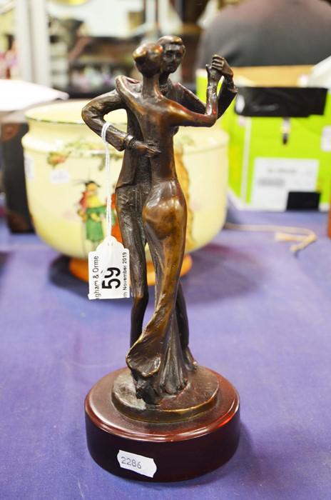 Lot 59 - A bronze figure of a dancing couple, signed Kim B,