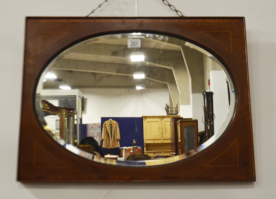 Lot 251 - An Edwardian mirror, mahogany with inlaid stringin
