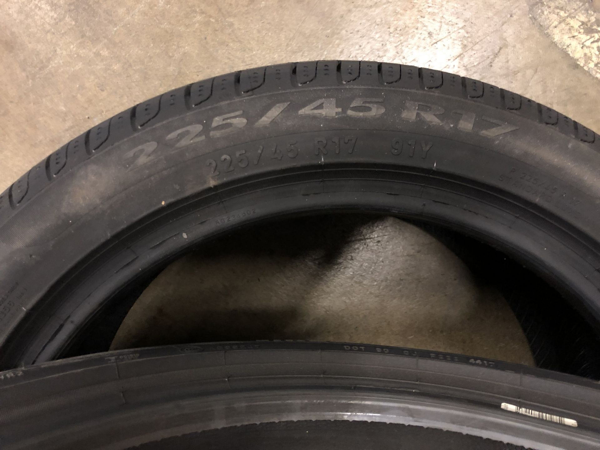 Lot 54 - 2: Pierelli Cinturato P7 225/45R17 (AO) 91Y Tyres (Please Note: Items located in Birmingham B6.