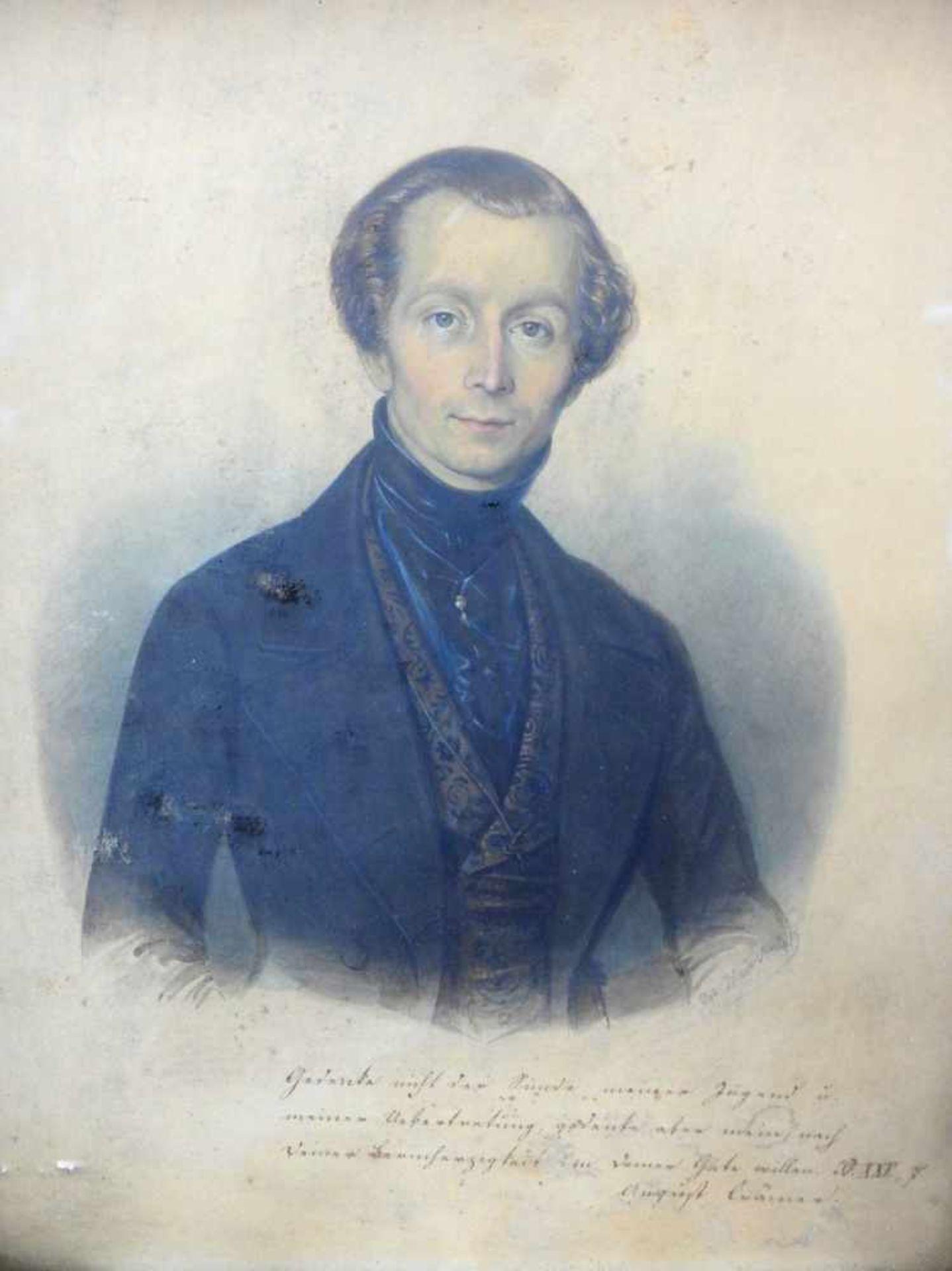 Porträt des August CrämerPastell/Papier. Porträt eines Herrn, betitelt mit August Crämer. Rechts