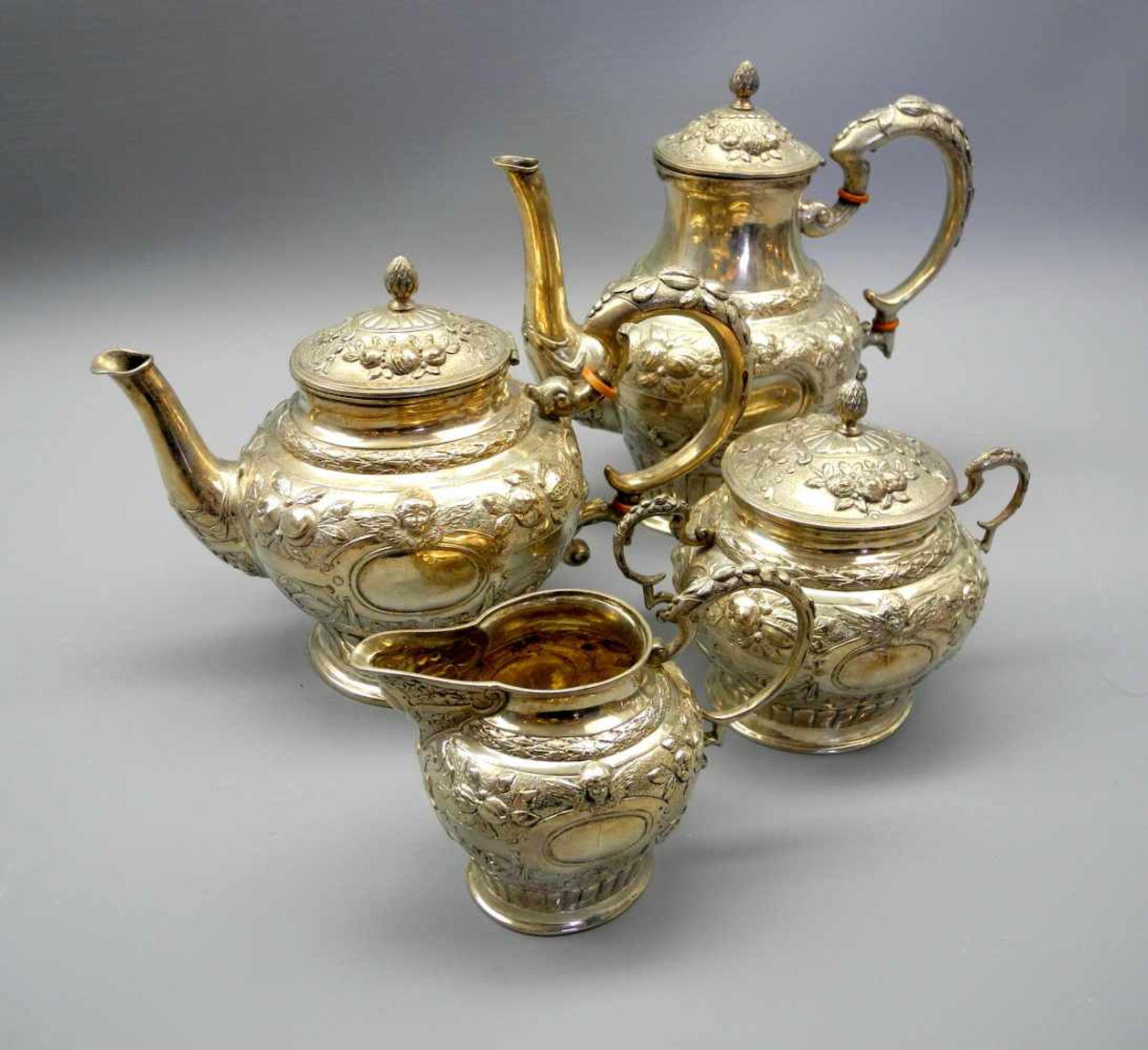 Los 42 - Kaffee- und Teekannen mit Dose und KännchenSilber, jeweils am Boden mit Jahresmarke 1767,