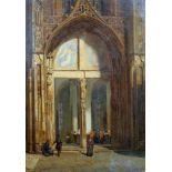 Ansicht einer gotischen KathedraleÖl/Leinwand. Architektonisch genaue Darstellung einer gotischen