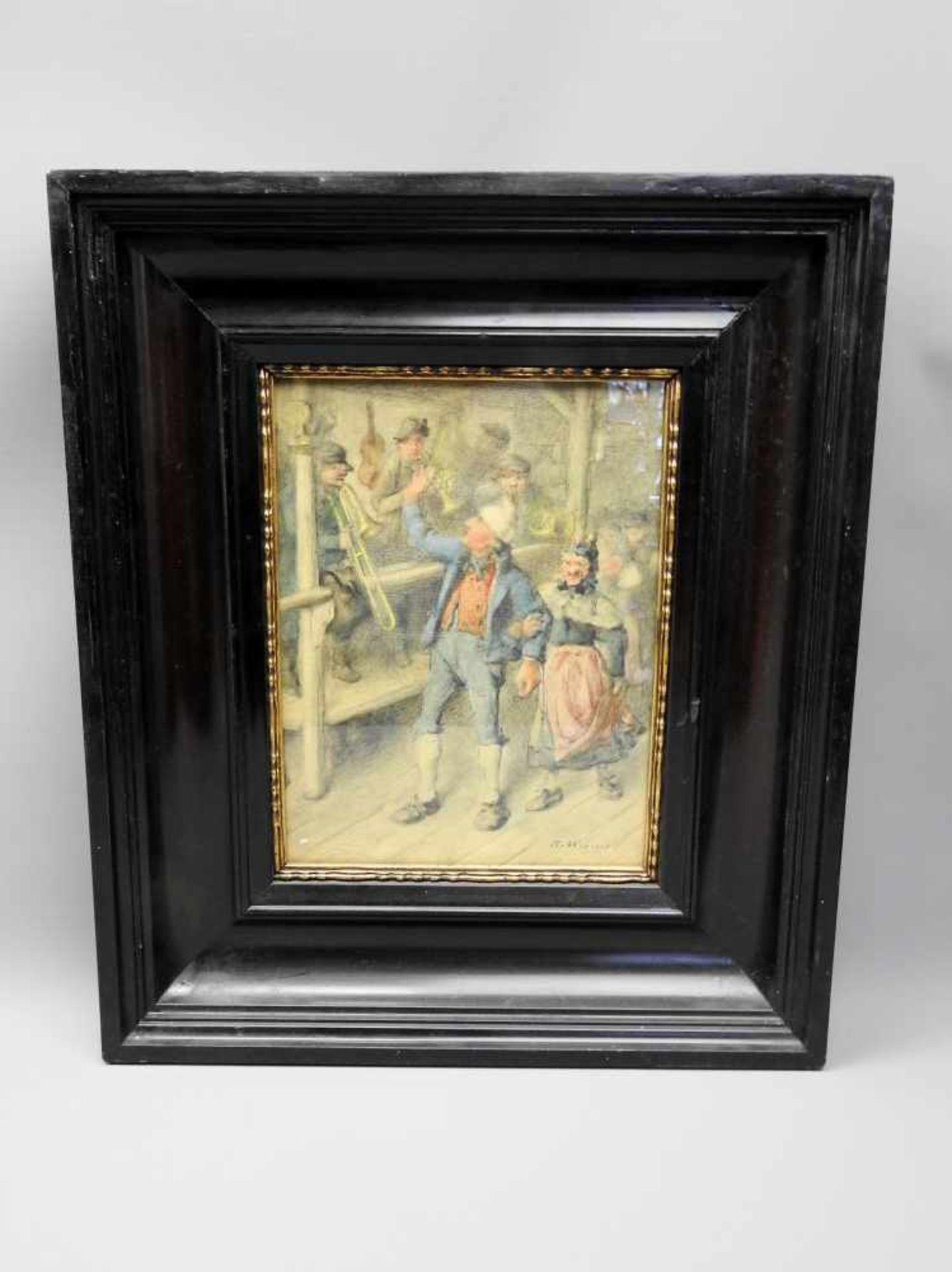 Tanzendes Bauernpaar vor MusikkapelleAquarell/Papier. Altes tanzendes Bauernpaar vor einer - Bild 2 aus 2