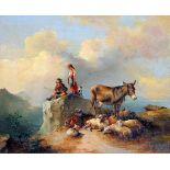 Gebirgspanorama mit SchäferfamilieÖl/Holz. Eine Schäferfamilie samt Herde und Esel rastet auf