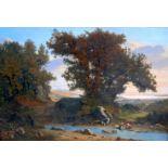 David Sutter, 1811 Genf - 1880 ParisÖl/Leinwand. Waschfrauen am Bachlauf. Durch einen gekonnten