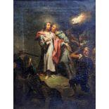Der Verrat des JudasÖl/Leinwand. Judas verrät Jesus mit einem Kuss. Altmeisterliche Ausführung.