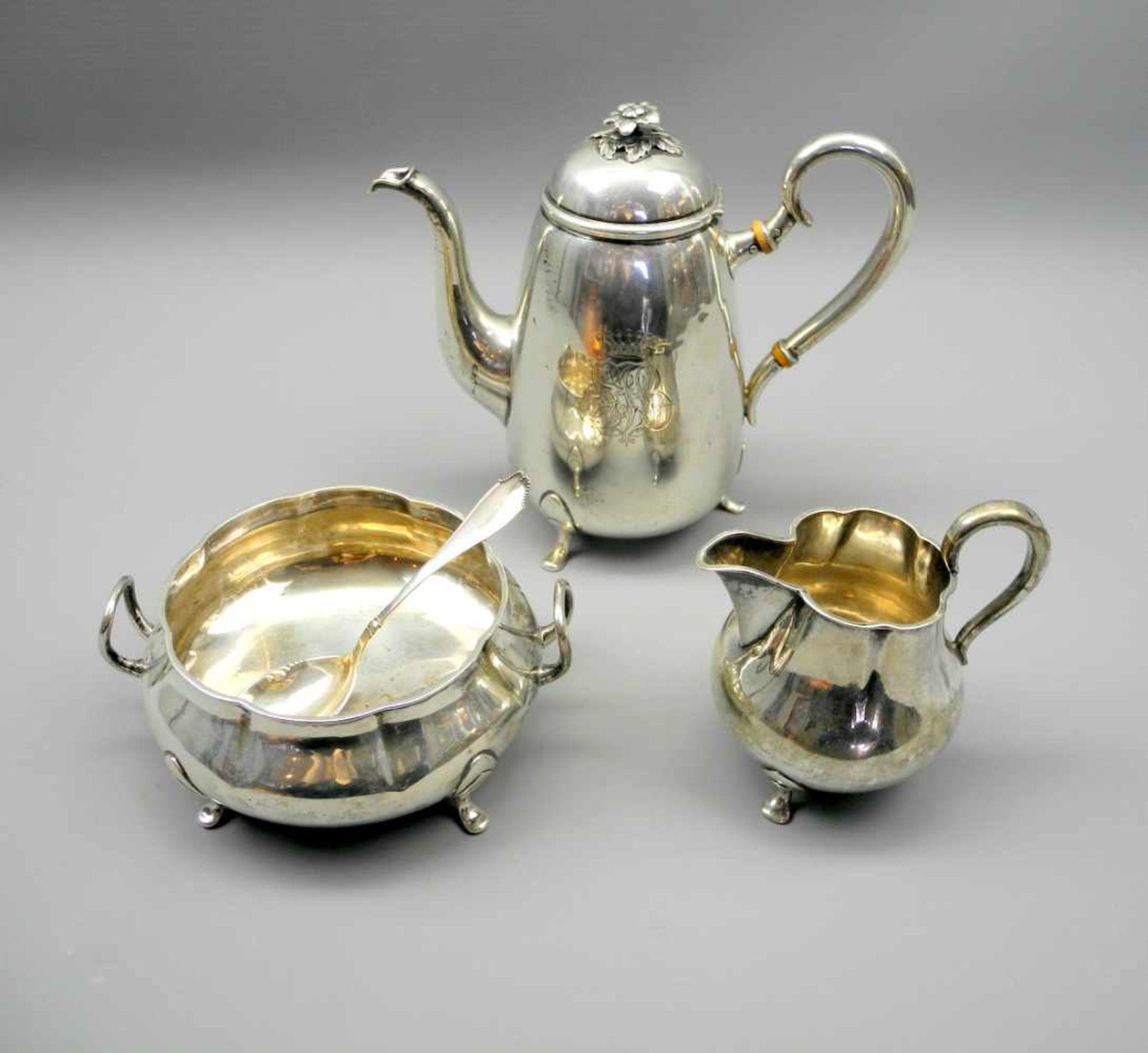 Los 22 - Dänisches TeeserviceMin. Silber 826, jeweils am Boden mit 3-Türme-Marke für Dänemark,